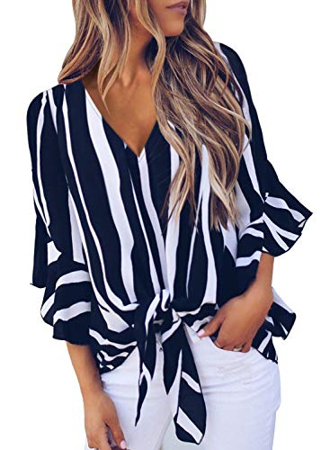 Asvivid Womens Striped Printed V Neck Tops Fall Flared Long Bell Sleeve Blouses Casual Tie Knot Ladies T-Shirt S Black