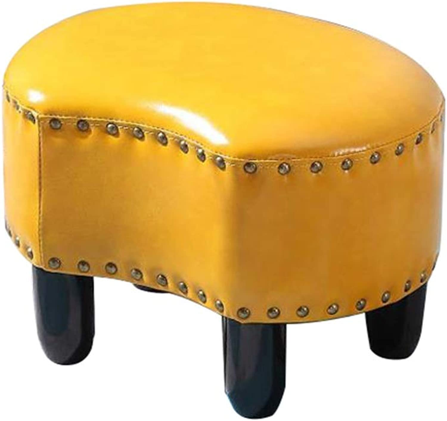 Creative Footstool PU Leather Solid Wood Multifunction Living Room Sofa Stool (can Bear 200KG) (color   F, Size   40cm)