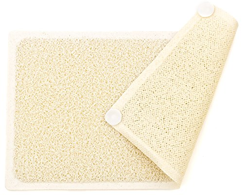 JNSM Products Loofah Shower Mat Non Slip Mildew and Stain Resistant Fast Drying Foot Massaging Bath and Shower Mat with Eight Suction Cups