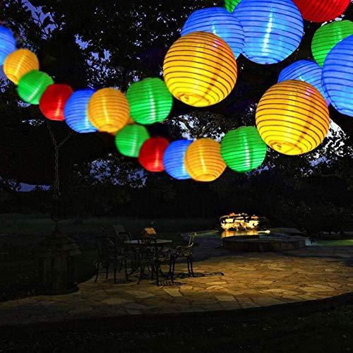 Mtawou - Guirnalda de luces solares para jardín, farolillo, 20 ledes, 2 modos, impermeable, para fiestas en el jardín, cercado de césped, decoración (5 m)