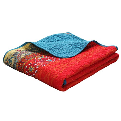 Exclusivo Mezcla Luxury Reversible 100% Cotton Paisley Boho Stripe Quilted Throw Blanket 60' x 50' Machine Washable and Dryable