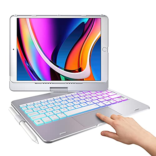 Typecase Touch iPad Keyboard Case with Trackpad for 10.2-inch iPad 8th Generation (2020), 7th Gen, Air 3, Pro 10.5-10 Color Backlight, 360° Protective Slim Cover with Pencil Holder (Sliver)