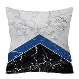 Wifehelper Cuadrado de Moda Suave Funda de Almohada Cubierta Abstracta geométrica impresión mármol Textura decoración para el hogar Almohada Cubierta(2#)