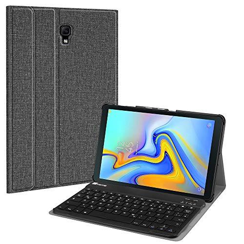 Fintie Tastatur Hülle für Samsung Galaxy Tab A 10.5 SM-T590/T595 2018 Tablet - Ultradünn leicht Schutzhülle mit magnetisch Abnehmbarer drahtloser Deutscher Bluetooth Tastatur, Jeansoptik dunkelgrau