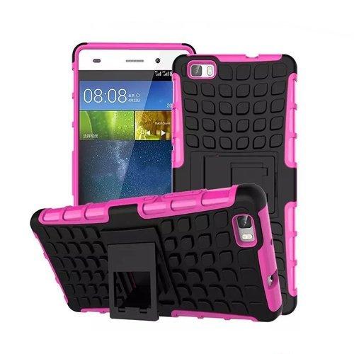 Huawei P8 Lite / Dual-SIM Outdoor Handy Tasche Pink Hybrid Hülle Schutz Hülle Panzer TPU Silikon Hard Cover Bumper | betterfon
