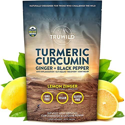 TRUWILD Turmeric Curcumin Drink Mix Powder + Organic Curcuminoid Black Pepper, Ginger, Cayenne Pepper, Lemon - Natural Anti-Inflammatory & Immune Support - Restore PH Balance & Joint Health
