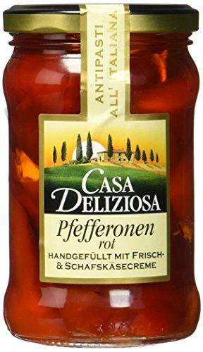 Casa Deliziosa Pfefferonen rot gefüllt mit einer Frisch- Schafskäsezubereitung mit Ziegenmilchanteil Glas (1 x 270 g)