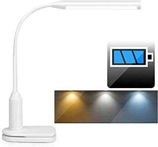Rechargeable LED Desk Lamp Clip on Light with Battery (2000mAh), 3 Color Temperature, Stepless Dimmable, Touch Control, 360° Flexible Reading Clamp Lamp for Study Bedroom Work (White-D3)