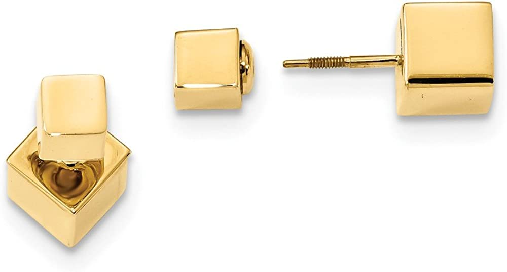 14k Yellow Gold 5mm/7mm Cube Front Back Post Stud Screwback Earrings Ball Button Fine Jewelry For Women Gifts For Her