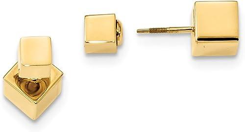 barato en línea Pendientes de tuerca, 14 quilates, 5 mm 7 mm, mm, mm, cubo delantero y trasero  Hay más marcas de productos de alta calidad.