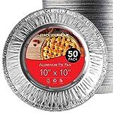 Stock Your Home 10 Inch Deep Dish Aluminum Foil Pie Pan (50 Count) - Disposable & Recyclable Large Pie Pan - Pie Plates for Bakeries, Cafes, Restaurants - Durable Large Foil Pans for Extra Pie Filling