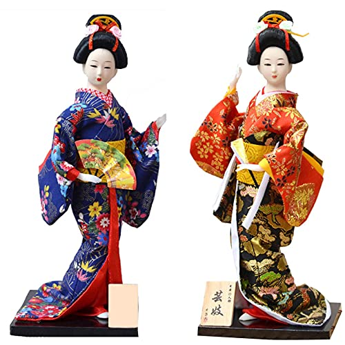 KJWXSGMM 12 '' / 31 cm Japonés Vintage Kimono Girls Geisha Doll Figurine Maiko Handcraft Figurine Home Desktop Decoration Regalos 2pcs,A