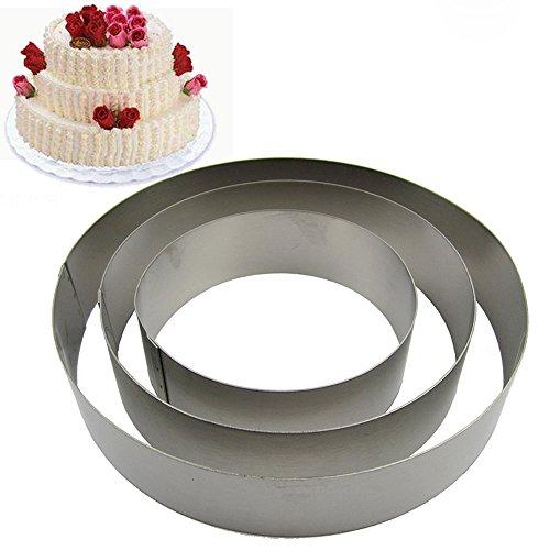 TAMUME Acciaio Inossidabile Anelli per Torte per Muffa di Torta Mousse Ring Mold Ideale per Set di Muffa Torta di Matrimonio e Stampo di Dessert - Set di 3 (Cerchio)