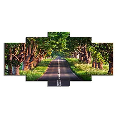 Swlyddm Stampa su Tela 5 Pezzi di Dipinti - Sentiero forestale - Quadri murali su Tela Murales Moderni Soggiorno Decorazione Camera da Letto Pronto da Appendere - GW-23967SA