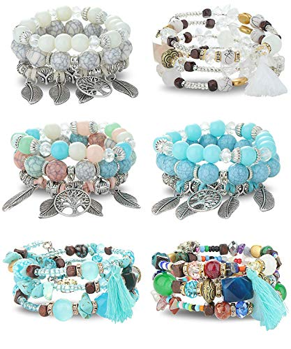 Finrezio 6 Sets Bohemian Multilayered Bead Bracelet Set for Women Stackable Bracelets Leaf Tassel Pendant Charm Stretch Bangles