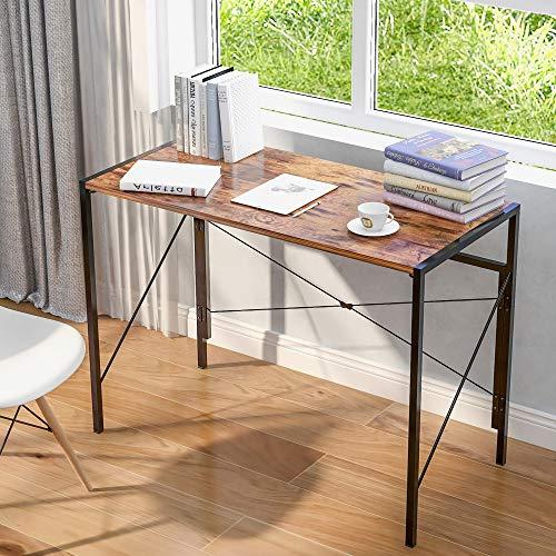 Xueliee - Mesa plegable para ordenador portátil, escritorio de oficina, escritorio de estudio, escritorio simple para casa, oficina, estilo industrial, color marrón rústico