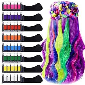 Peine de Tiza Para el Pelo con Tapa, EBANKU 8 Colores Lavables Tinte para Cabello, Color de pelo Temporal Hair Chalk Set para Niños Regalos Navidad Fiestas Cosplay DIY