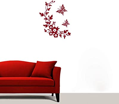 Decor Villa Butterfly Flowers Wall Sticker & Decal (PVC Vinyl, Size- 68 cm x 58 cm), DVHS1360BL