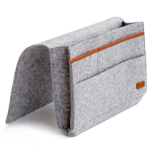 Kenley Bedside Storage Caddy - Bed Tidy Pocket Organiser - Hanging Bag for TV Remote Control, Laptop, Book, Newspaper, Phone - Perfect for Cabin or Bunk Beds or Sofa - 23 x 31cm - Grey Felt & Leather