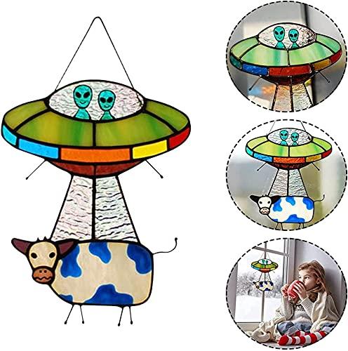 ufo alien cow pendant ornaments,ufo alien cow pendant decoration,ufo cow spaceship,creative painted ufo alien cow pendant,for Windows Doors Home Decoration and Gifts (1PCS)