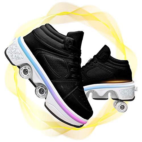JZIYH Deformation Schuhe Kinder Rollschuhe Inline Skates Schuhe Mit LED Rollen Mehrzweckschuhe Mit Rollen Quad-rollschuh-Stiefel