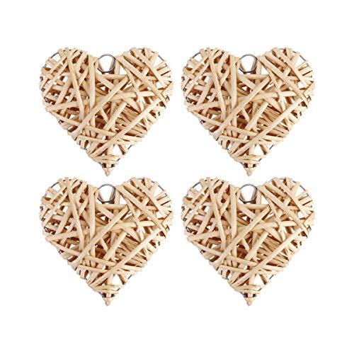WINOMO 8 pezzi da parete in rattan a forma di cuore da appendere a forma di cuore di salice, decorazione per la festa di matrimonio, San Valentino, 15 x 15 cm
