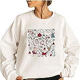 Wave166 Jersey de Navidad para mujer, grande, con impresión gráfica, elegante, cuello redondo, manga larga, ropa deportiva, 3 blancos., XXL