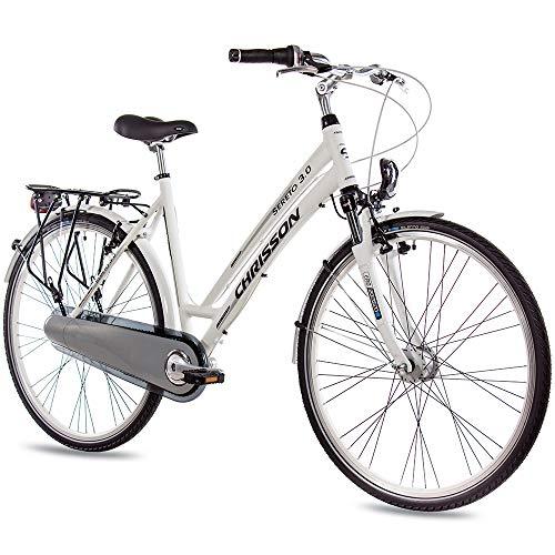 CHRISSON 28 Zoll Damen City Bike - Sereto 3.0 Weiss - Damenfahrrad mit 7 Gang Shimano Nexus Nabenschaltung, Rücktrittbremse und Nabendynamo, Cityrad mit Suntour Federgabel