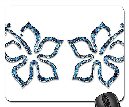 Mouse Pad - Decor Ornament Blue Jewelry Flower Hibiscus 2