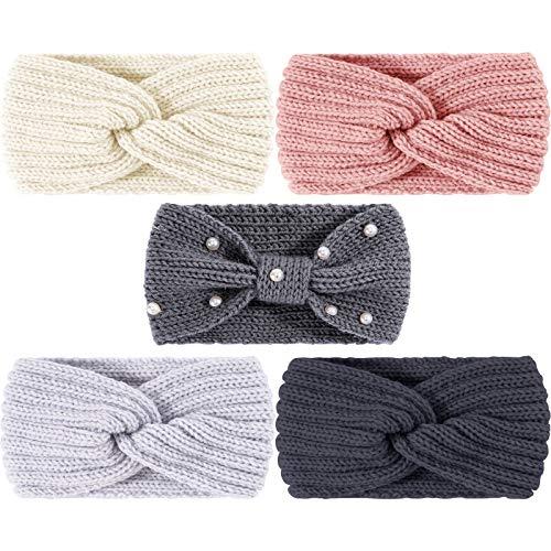 Whaline 5 Stück Winter-Strick-Stirnbänder Grobstrick-Stirnbänder, 4 elastische Turban-Kopfwickel und 1 Perlenhaarband, Ohrwärmer, Häkelkopfwickel für Frauen und Mädchen (rosa und grau)