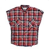 Camisa de Manga Corta para Hombre, Tendencia Europea y Americana, Nueva Camisa a Cuadros de Hip-Hop Retro, Camisa sin Mangas con Cremallera XL