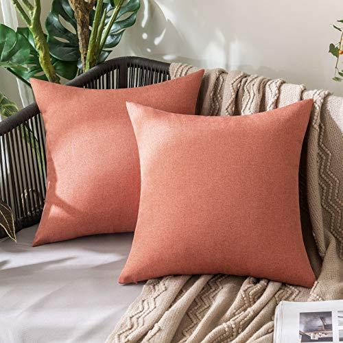 MIULEE Uppsättning om 2 vattentäta örngott för utomhusbruk. Örngott i bomull/linne-utseende. Dekorativ soffkudde, dekorativa kuddar, moderna örngott för soffa, vardagsrum, sovrum, säng.