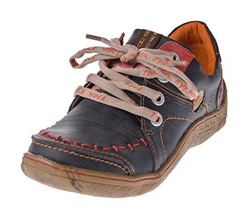 TMA Damen Leder Halb Schuhe Comfort Sneakers Schwarz Used Look Eyes 1646 Schnürer Turnschuhe Gr. 40