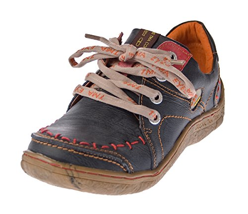 TMA Damen Leder Halb Schuhe Comfort Sneakers Schwarz Used Look Eyes 1646 Schnürer Turnschuhe Gr. 37