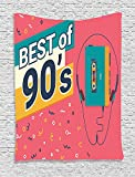 Ambesonne 90s Decorations Collection, 90s Retro Style Illustration of Stereo Compact Cassette Player