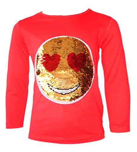 KIDS EMOJI EMOTICON SMILEY FACE TOPS TEE TOP BRUSH CHANGING SEQUIN NEW AGE,11-12 Years,Red