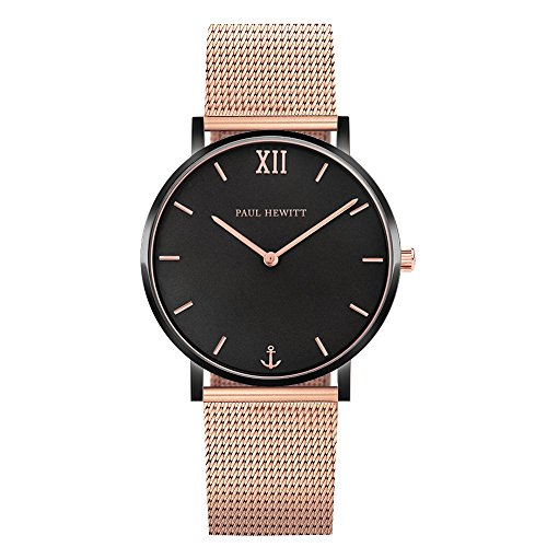 PAUL HEWITT Armbanduhr Damen Sailor Line Black Sunray - Damen Uhr (Schwarz und Rose), Damenuhr Edelstahlarmband in Rosegold, schwarzes Ziffernblatt