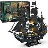 CubicFun Puzzle 3D Queen Anne's Revenge Rompecabezas 3D Nave Kit de Modelo de Barco Pirata (LED) Divertido Regalo para Niños y Adultos, 340 Piezas