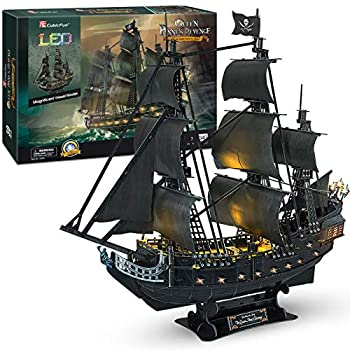CubicFun 3D Puzzles 26.6  Pirate Ship with 15 LED Bulbs for Adults Sailboat Model Building Kits Hobby Toy Cool Room Decor Gift for Men Queen Anne s Revenge Difficult Family Puzzle