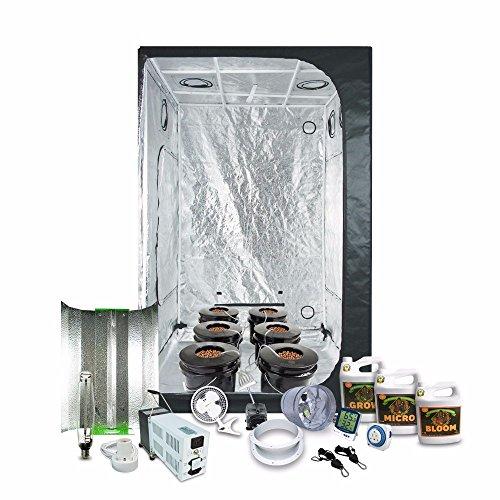 HTG Supply 4.5 x 4.5 (55'x55'x79') Grow Tent Kit Complete with 1000-Watt HPS Grow Light + DWC Hydroponic System & Advanced Nutrients