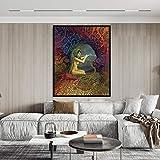 YuanMinglu Misteriosa Carta del Tarot psicodélico Diosa de la Luna póster Imprimir Artista Gitano decoración de la casa póster e Imprimir Pintura sin Marco 60x83cm