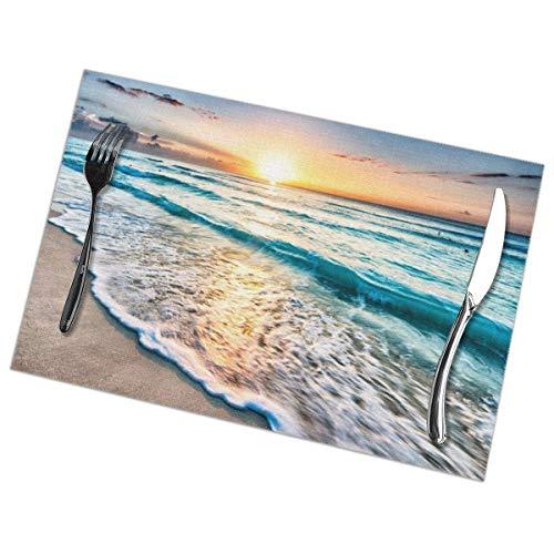 Singledog Oceans Sunsets Waves-1 Manteles Individuales para Mesa de Comedor Juego de...