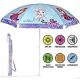 Sonnenschirm für Strand / Garten / Meer / Terrasse - Windfest - Jungen und Mädchen mit Motiven aus Frozen / die Eiskönigin – Lichtschutzfaktor UV SPF 50+ - Perletti