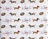 All Star Arena 4 Piece Full Size Bed Sheet Set Football Dogs Dachsunds with Helmets and Referee Shirts