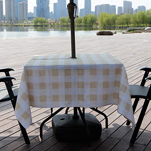 AooHome Square Summer Table Cloth with Zipper and Umbrella Hole, Fabric Spill-Proof Water Resistant Checkered Table Linen Design for Spring BBQs, Machine Washable, Heavy Weight, 60 x60 Inch, Beige