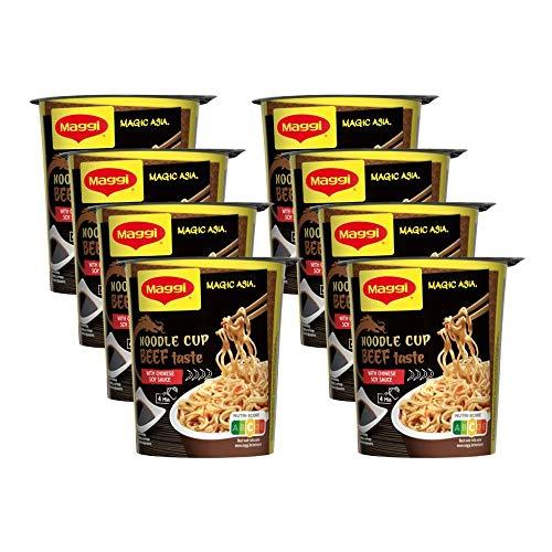 Maggi Magic Asia Beef Noodle Cup, Instant Nudel-Snack, asiatisches Fertiggericht, scharf gewürzt, Rind-Geschmack , 8er Pack (8 x 63g)