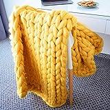 ASY Manta de punto gruesa hecha a mano para tejer, manta gigante, suave, gruesa, supersuave, manta para sofá, manta para mascotas, decoración de dormitorio, color amarillo, 127 x 152