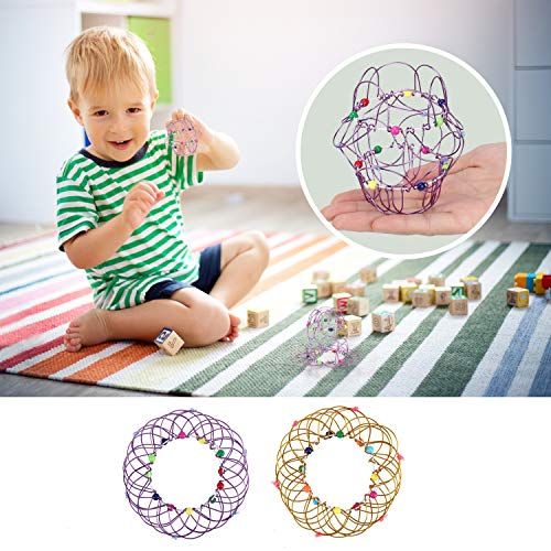 LACE INN 2 Pcs Magic Mandala Flower Basket Toy Handmade Magic Loops Wire Fidget Toy Can Transform35 Beautiful Shapes for Kids Adults Creative Stress Reliever Toys Gold  Purple