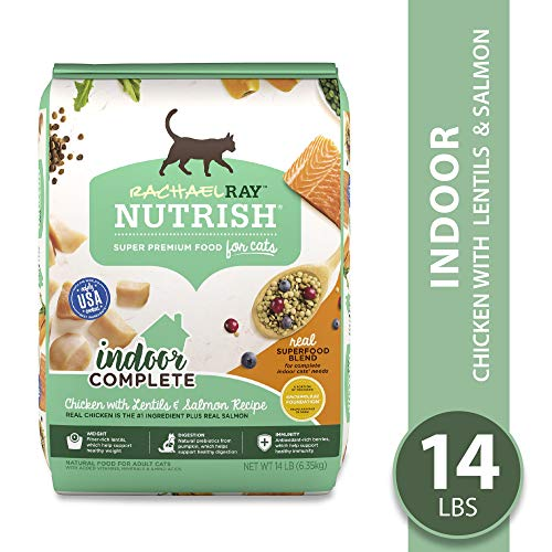 Rachael Ray Nutrish Premium Natural Dry Cat Food, Indoor Complete Chicken with Lentils & Salmon...