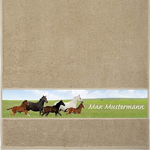 Manutextur Handtuch mit Namen - personalisiert - Motiv Tiere - Pferde - viele Farben & Motive - Dusch-Handtuch - beige - Größe 50x100 cm - persönliches Geschenk mit Wunsch-Motiv und Wunsch-Name